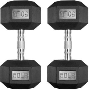 PAPABABE Rubber Dumbbells Free Weights